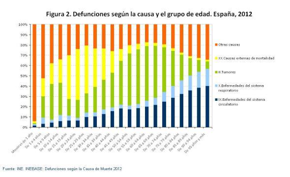 Figura 2 Defunciones según la causa y el grupo de edad España 2012