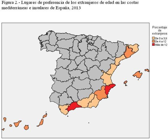 Figura 2.- Lugares de preferencia de los extranjeros de edad en las costas mediterráneas e insulares de España, 2013