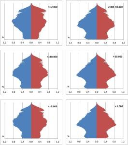 Material suplementario pirámides según tamaño municipal